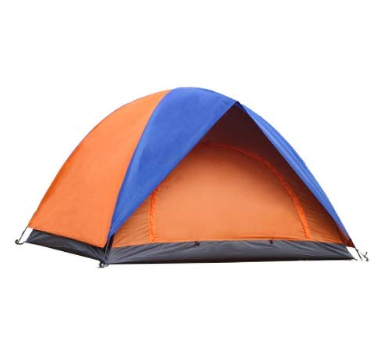 聴覚少ない椅子Lishangl 屋外の3人の防雨のテントの二重ドアの二重ドアのキャンプテント野生のキャンプのテント (Color : Orange)