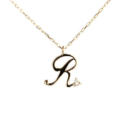 【 DIAMOND WORLD 】レディース ジュエリー イニシャル K18PG ピンクゴールド ダイヤモンドペンダントネックレス 0.01ct イニシャル R 選べる 3素材 アルファベット A C E H K M N R S T Y
