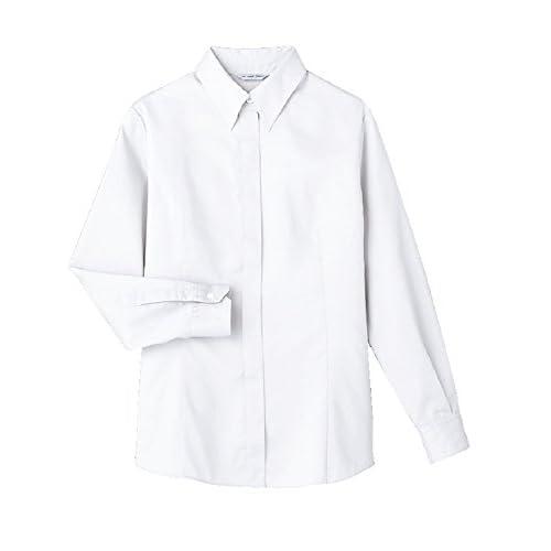 (アルベ)arbe 【ユニフォーム】交織ピッケ長袖比翼ボタンブラウス BL6049 C-1 ホワイト 13号