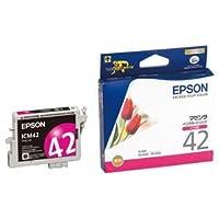 (まとめ) エプソン EPSON インクカートリッジ マゼンタ ICM42 1個 【×4セット】 ds-1570605