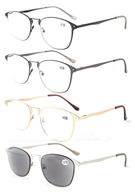 狭いキラウエア山コンデンサーアイキーパー(Eyekepper) 良質 バネ蝶番 テンプル レトロなメガネ 眼鏡 4本セット(3本普段用+1本サングラス)