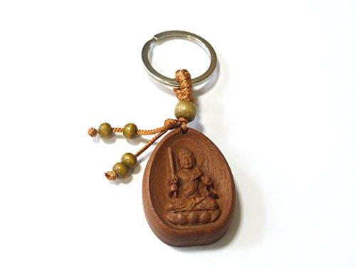 木彫り 仏像 桃の木 提物 ペンダント 守護本尊 キーホルダー 42mm (不動明王)