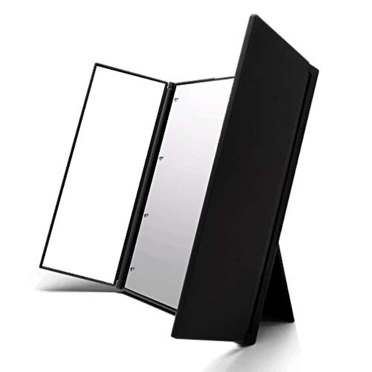 セイはさておきアジャに慣れVidgoo 鏡 卓上 化粧鏡 スタンド LED付き 三面鏡 折り畳み式 調整可能 電池型 ブラック