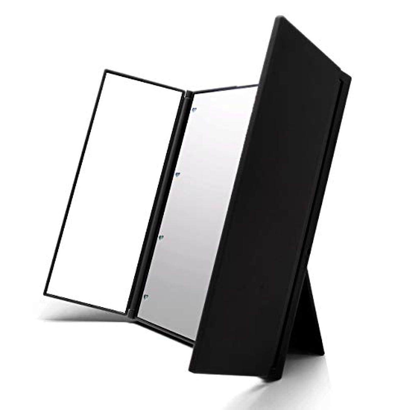 争う凝視排泄するVidgoo 鏡 卓上 化粧鏡 スタンド LED付き 三面鏡 折り畳み式 調整可能 電池型 ブラック