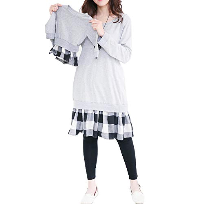 マタニティ ワンピース ニット スカート 長袖 授乳口付き 妊婦服 産前 産後 気質格紋 ゆとりがある