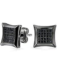 [ブリング?ジュエリー] Bling Jewelryスターリング シルバー SILVER 925 ブラック ロジウムメッキ ブラック CZ メンズ スタッドピアス 7mm [インポート]