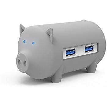 ORICO USB3.0 3ポートハブ&カードリーダー 5in1 多機能 TF/SD カードにも対応 グレー ブタさんデザイン
