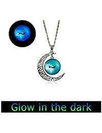 グローイング満月ネックレスマーメイドネックレスジュエリー海の宝石の輝き暗い人魚のアクセサリー海のネックレス