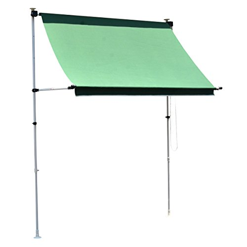 グリーン/オーニング 日よけ シェード Cool Awning 200 幅200cm 日よけスクリーン よしず 伸縮アーム オーニング 日よけ つっぱり 窓 全面シェード サンシェード UVカット