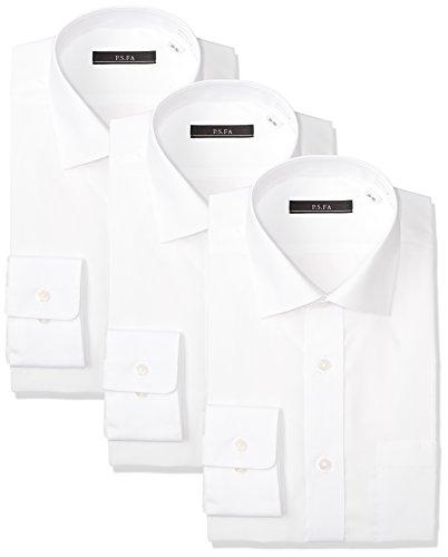 [ピーエスエフエー] 45サイズ展開 スリムモデル 形態安定加工 イージーケア長袖白セミワイドカラーワイシャツ 3枚セット M151180132 メンズ