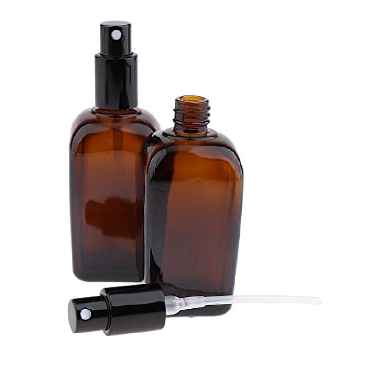 分夢免疫するF Fityle 2本 ポンプスプレーボトル 香水ボトル 噴霧器 ガラスびん 5サイズ選べ - 100ml