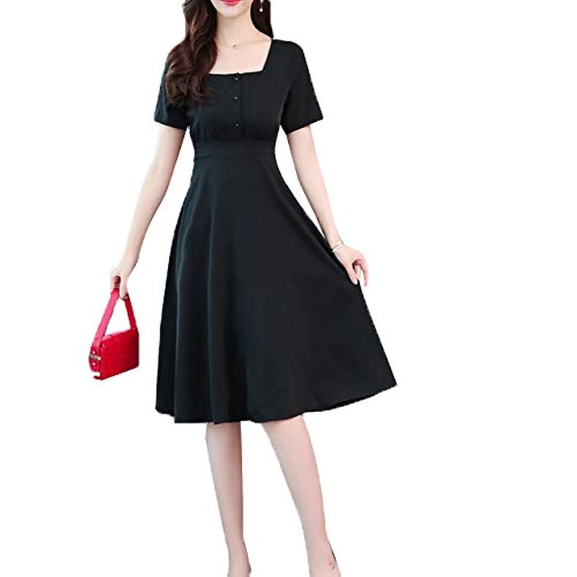 [ココチエ] ワンピース 黒 半袖 膝下丈 大きいサイズ おおきいサイズ おしゃれ ゆったり 冠婚葬祭 ブラックフォーマル