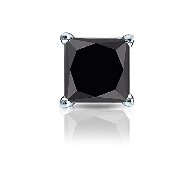 適合するトレース悪性14 Kゴールド4プロングMartiniプリンセスブラックダイヤモンドシングルスタッドイヤリング( 1 / 4 – 2 ct、ブラック安全ロックバック