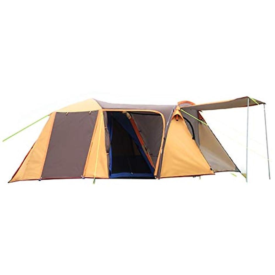 チャンピオンファウル代替テント テント、厚い3?4人のキャンプオートスピードオープン折りたたみテント二重層増加テント、サイズ420 * 220 * 160 cm、オレンジイエロー