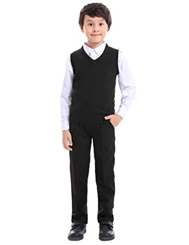 トップタイボーイズVネックニットノースリーブプルオーバー制服セーターベスト(ネイビー/ブラック) - ブラック - 8