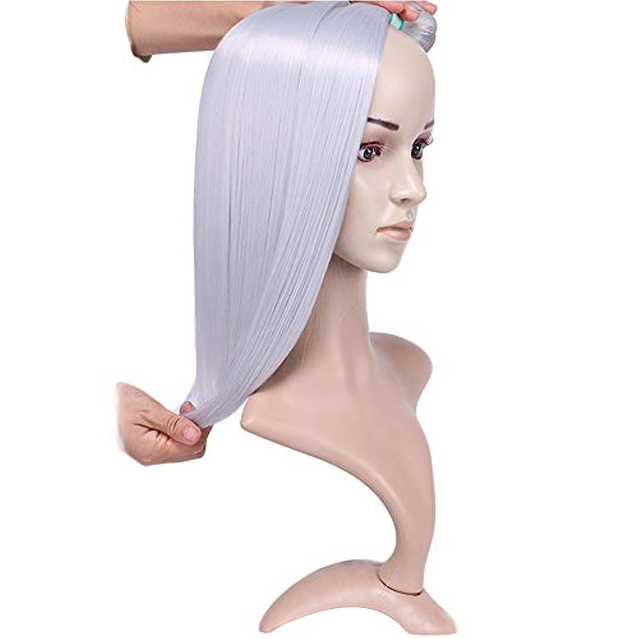 管理磁気運河HOHYLLYA シルバーグレーストレートヘアバンドルシルキーストレート織り方長さ混合長(16 18 20)合成髪レースかつらロールプレイングかつら長くて短い女性自然 (色 : Silver grey, サイズ : 18...