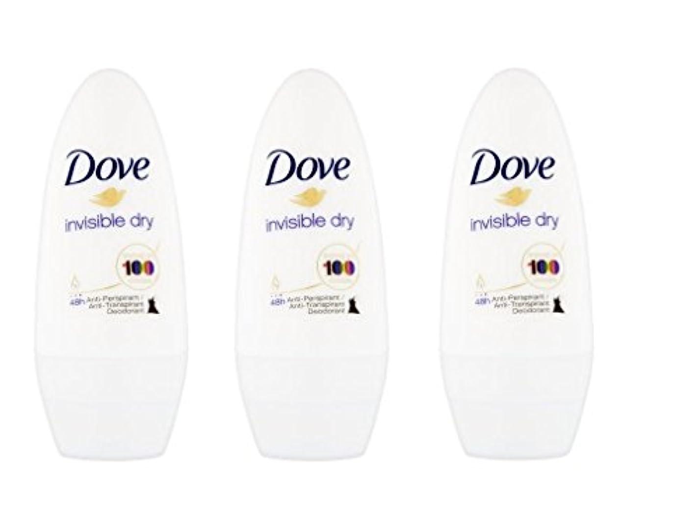 吐き出す経済的メンダシティDove Invisible Dry 48 Hs Anti-perspirant Roll-on Deodorant. 50 Ml. (Pack of 3) by Dove [並行輸入品]