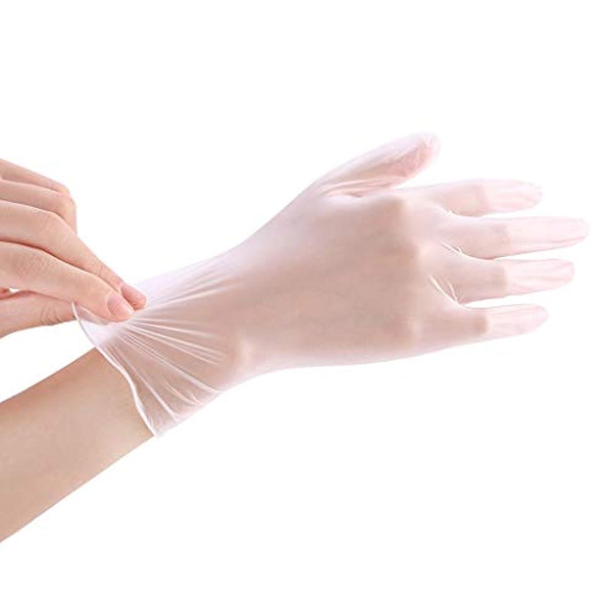 消防士で出来ている合唱団使い捨て透明食品ケータリンググレードPVC手袋美容キッチンベーキングフィルム手袋200 YANW (色 : トランスペアレント, サイズ さいず : L l)