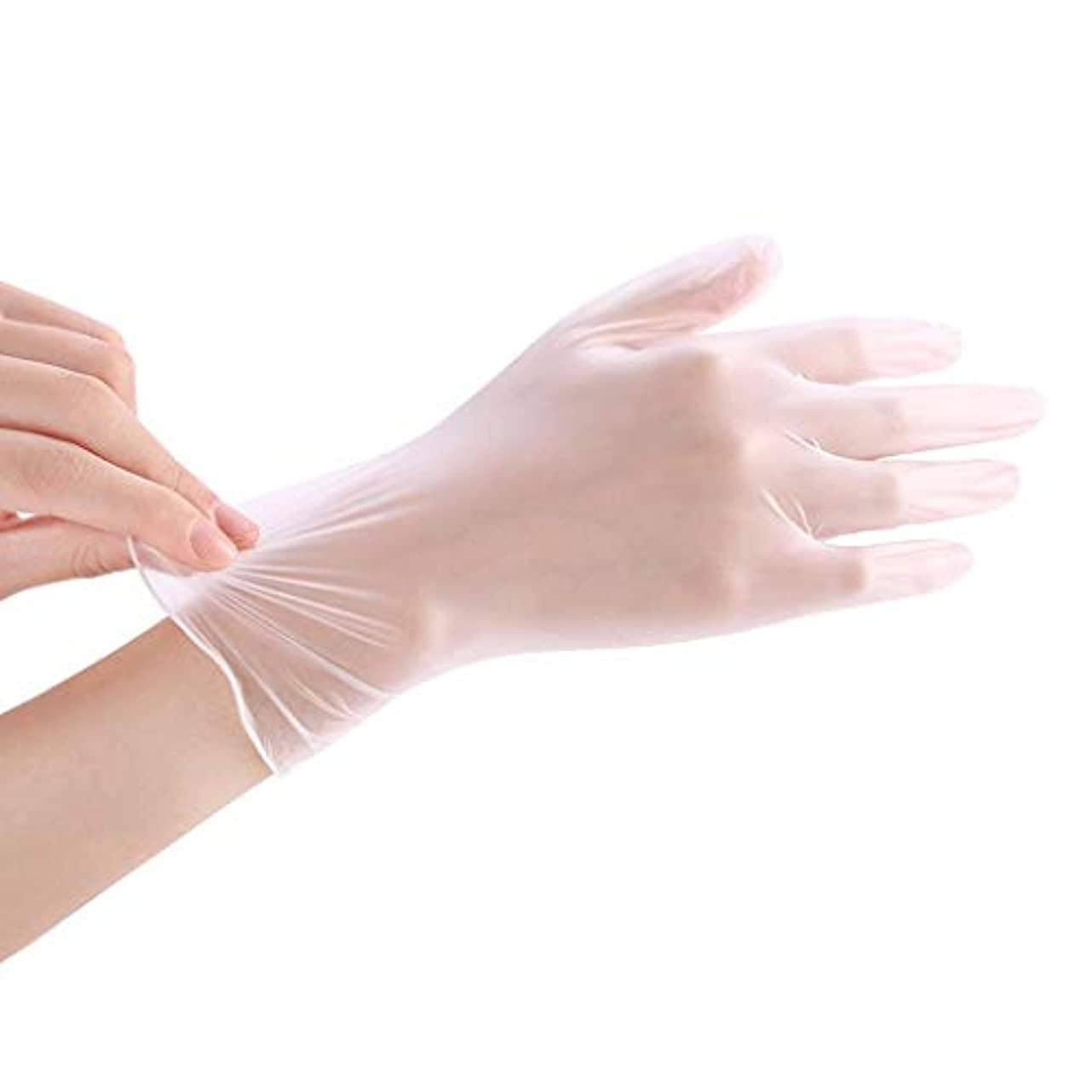 法医学石鹸どうしたの使い捨て透明食品ケータリンググレードPVC手袋美容キッチンベーキングフィルム手袋200 YANW (色 : トランスペアレント, サイズ さいず : L l)