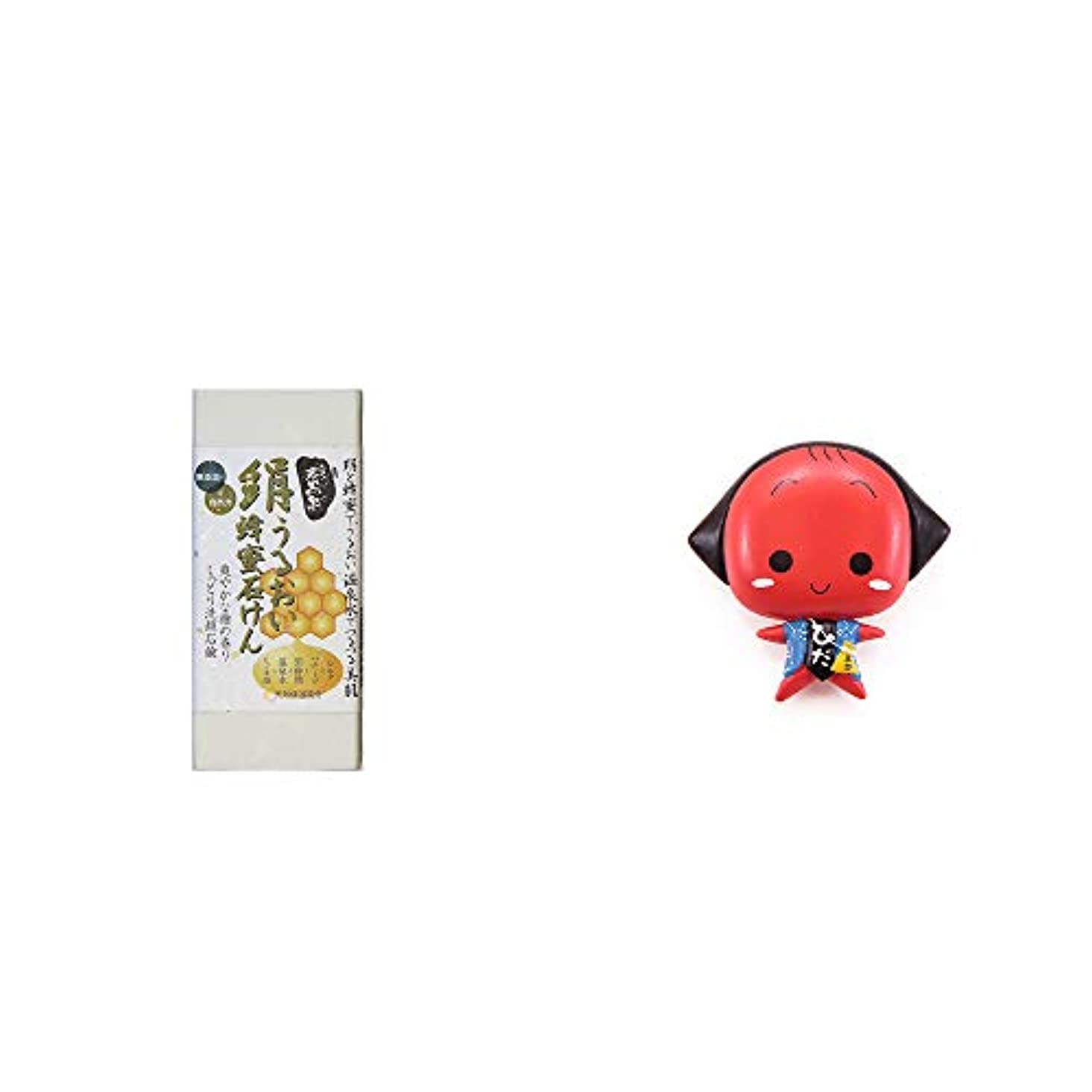 最大の大胆不規則性[2点セット] ひのき炭黒泉 絹うるおい蜂蜜石けん(75g×2)?さるぼぼ アニメ顔 マグネット