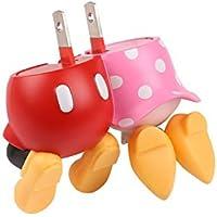 ディズニー キャラクター 2ポート USB充電器 AC充電器 ACアダプタ USB 2A / ミッキーマウス&ミニーマウス/おしり