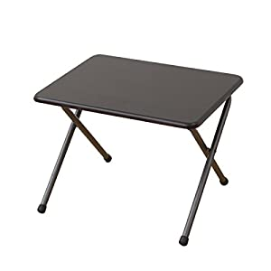 山善(YAMAZEN) テーブル ミニ 折りたたみ式 サイドテーブル 幅50×奥行44×高さ35cm ロータイプ ミドルブラウン YST-5040L(MBR/MBR)