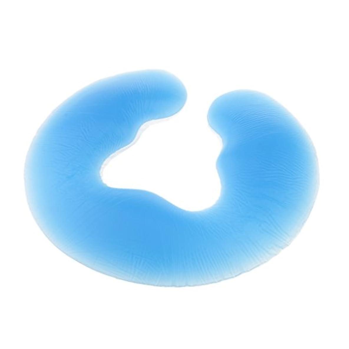 ベッドを作る極地誤解フェイスピロー 枕 ヘッドクッション パッド サロン マッサージピロ 美容サロン 2色選べる - 青