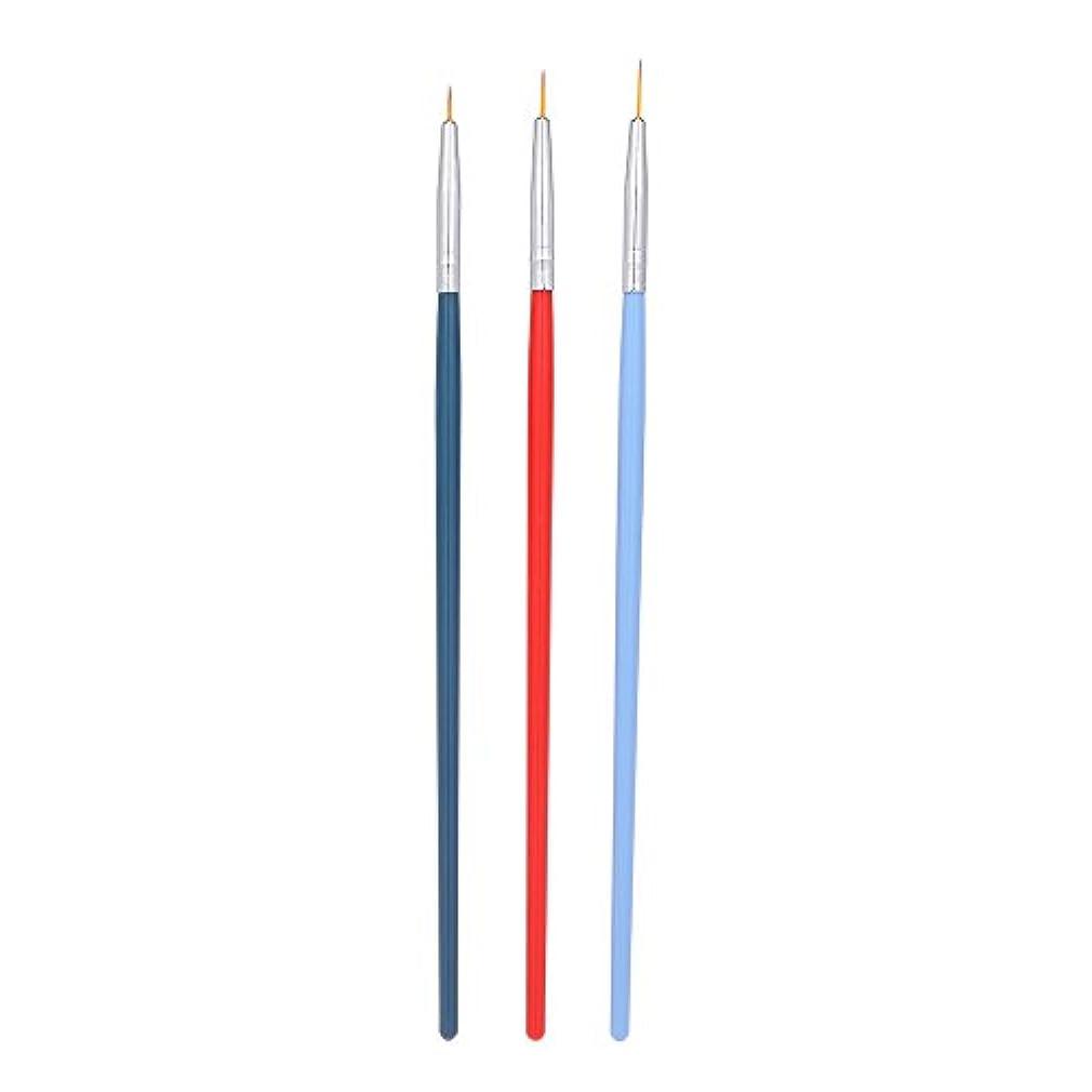 眠っている複雑でない告発Decdeal 3本 ネイルアートライナーブラシ ネイルブラシ ペン UVジェル塗装 セット マニキュア ネイルツール プラスチックハンドル