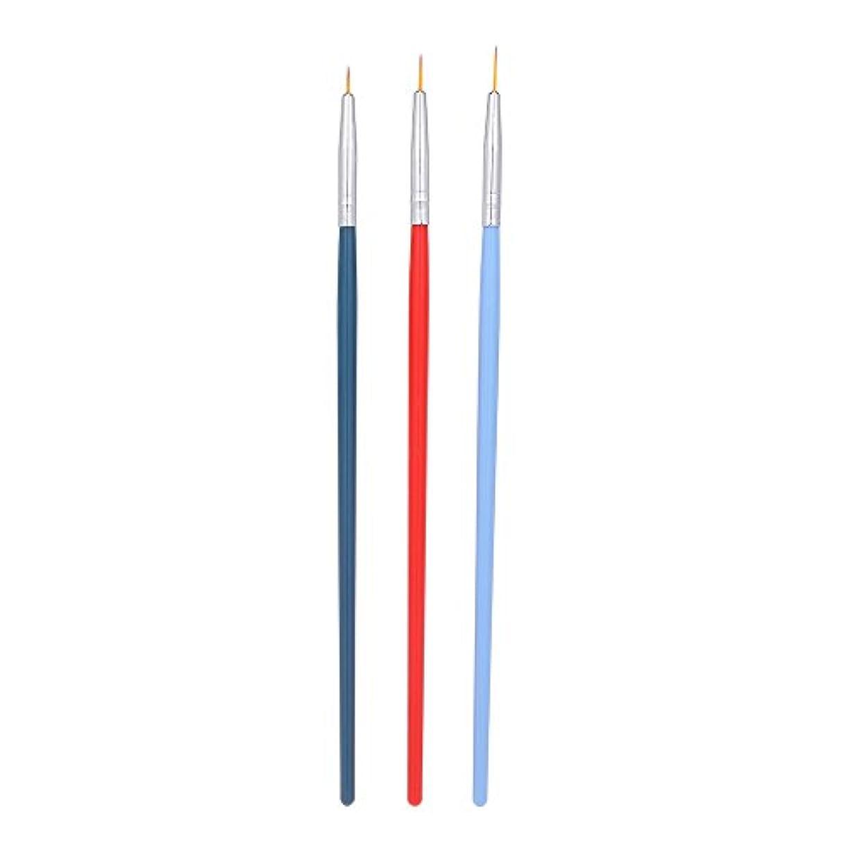 クラウン露骨な餌Decdeal 3本 ネイルアートライナーブラシ ネイルブラシ ペン UVジェル塗装 セット マニキュア ネイルツール プラスチックハンドル