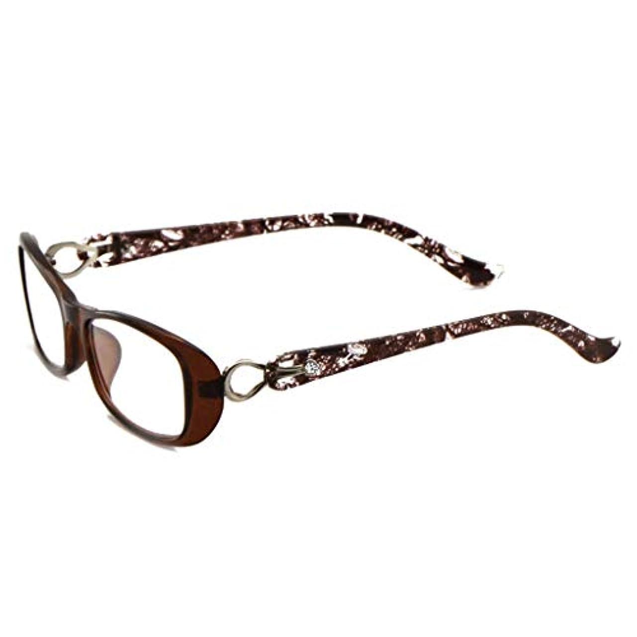 鼓舞する俳優プロジェクターLCSHAN アンチブルー老眼鏡ラージフレーム女性の超軽量ファッション抗疲労遠近両用+ 1.5 (Color : Brown, Size : 100 degrees)