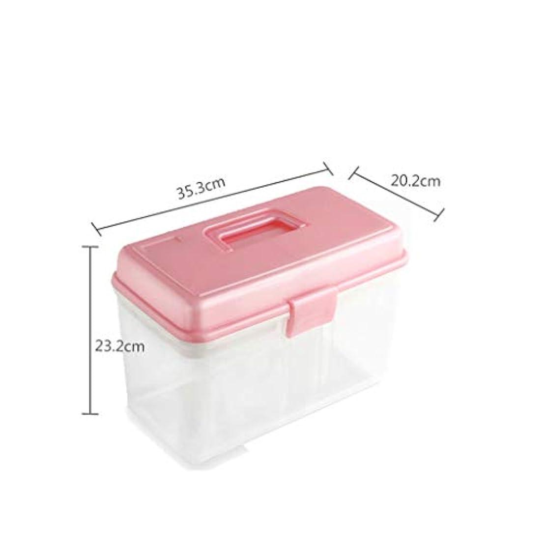 ハブ忠誠ヒゲクジラ家庭用薬箱こども救急箱薬収納箱医療箱家庭用小薬箱収納箱 薬箱 (Color : Pink, Size : 23.2cm×35.3cm×20.2cm)