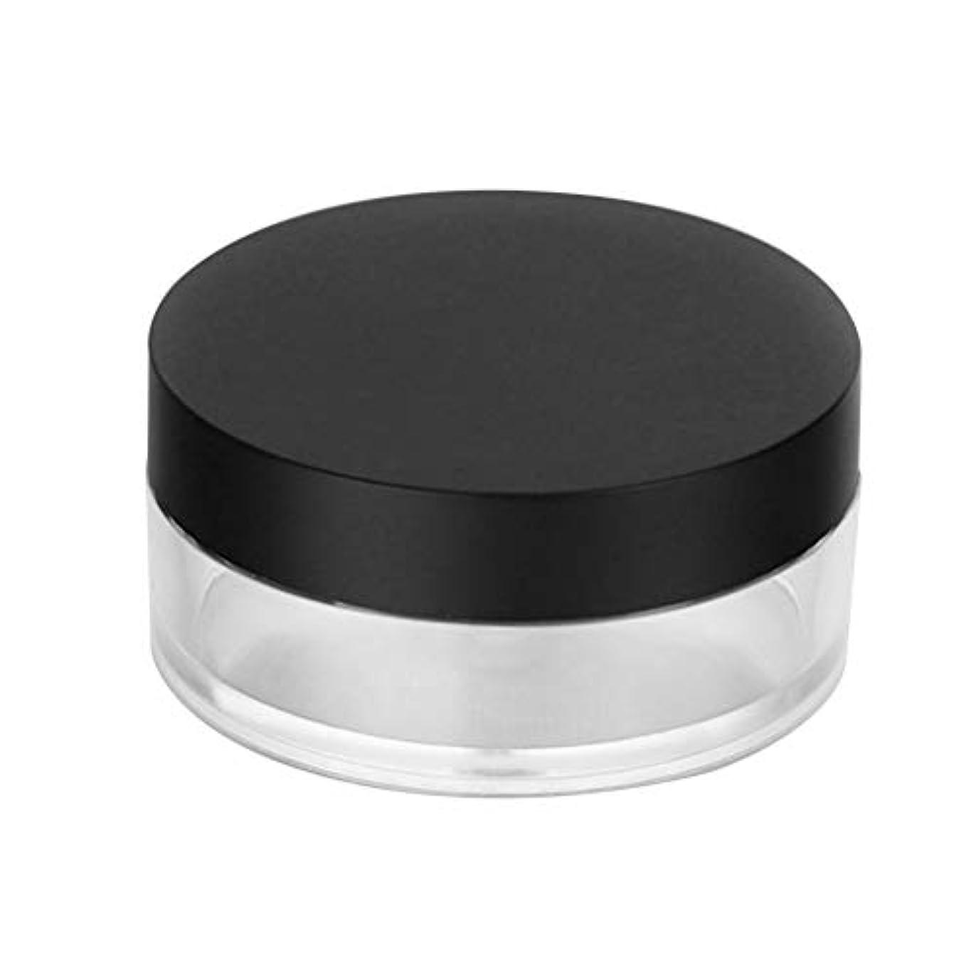ペンマオリ香水Frcolor パウダーケース パウダー容器 中栓付き 20G 携帯用 手作り 詰替え容器 小分けボトル ミラー付き 2個セット(ブラックフタ)