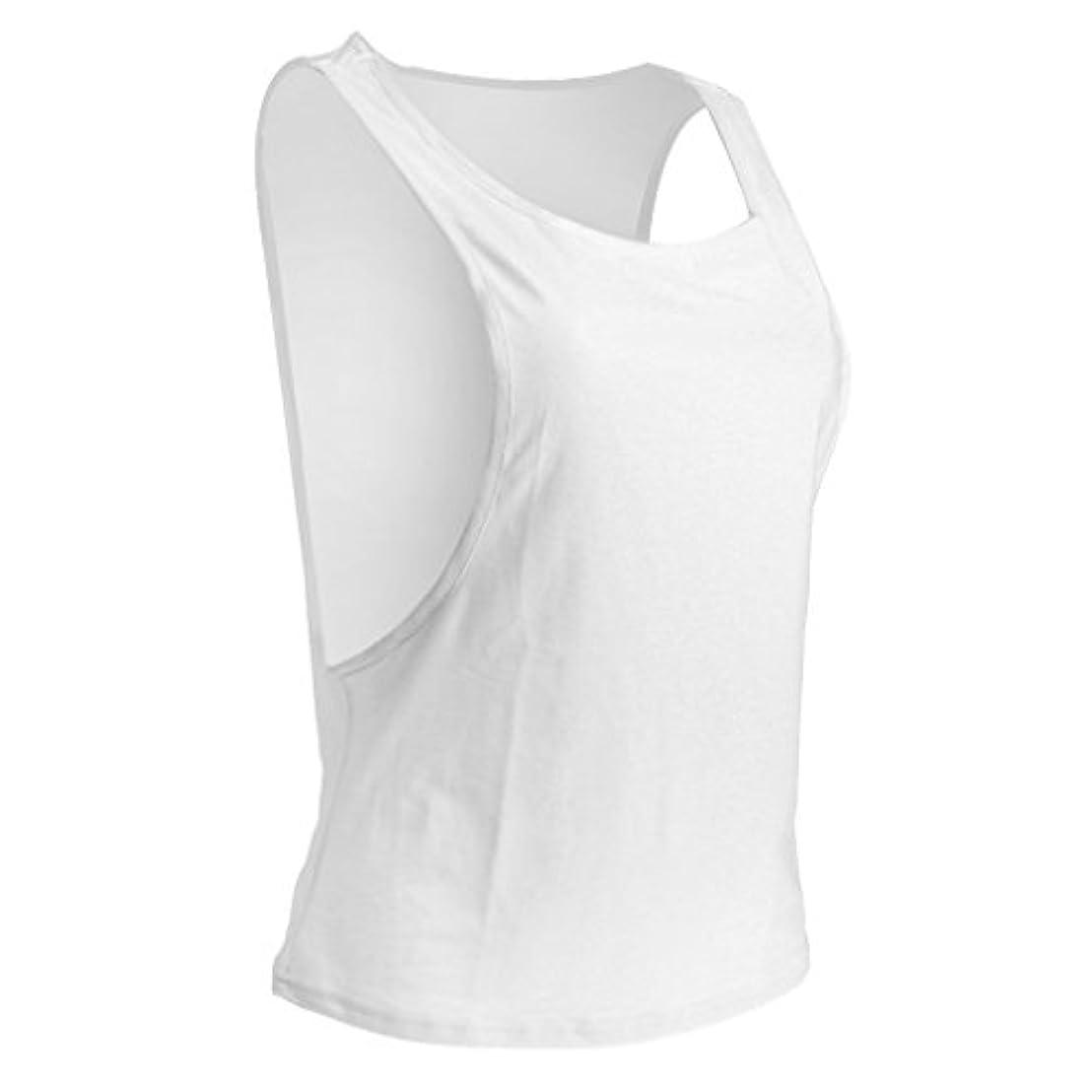 感情コード死にかけている【ノーブランド品】 快適 女性 スポーツ フィットネス トレーニング トンシャツ ノースリーブ スポーツ タンクトップ ベスト 7色3サイズ選べる - M, ホワイト