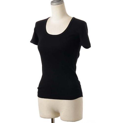(スリードッツ)Three Dots スクープ Uネック/半袖Tシャツ/カットソー AA1S-004W Black M [並行輸入品]