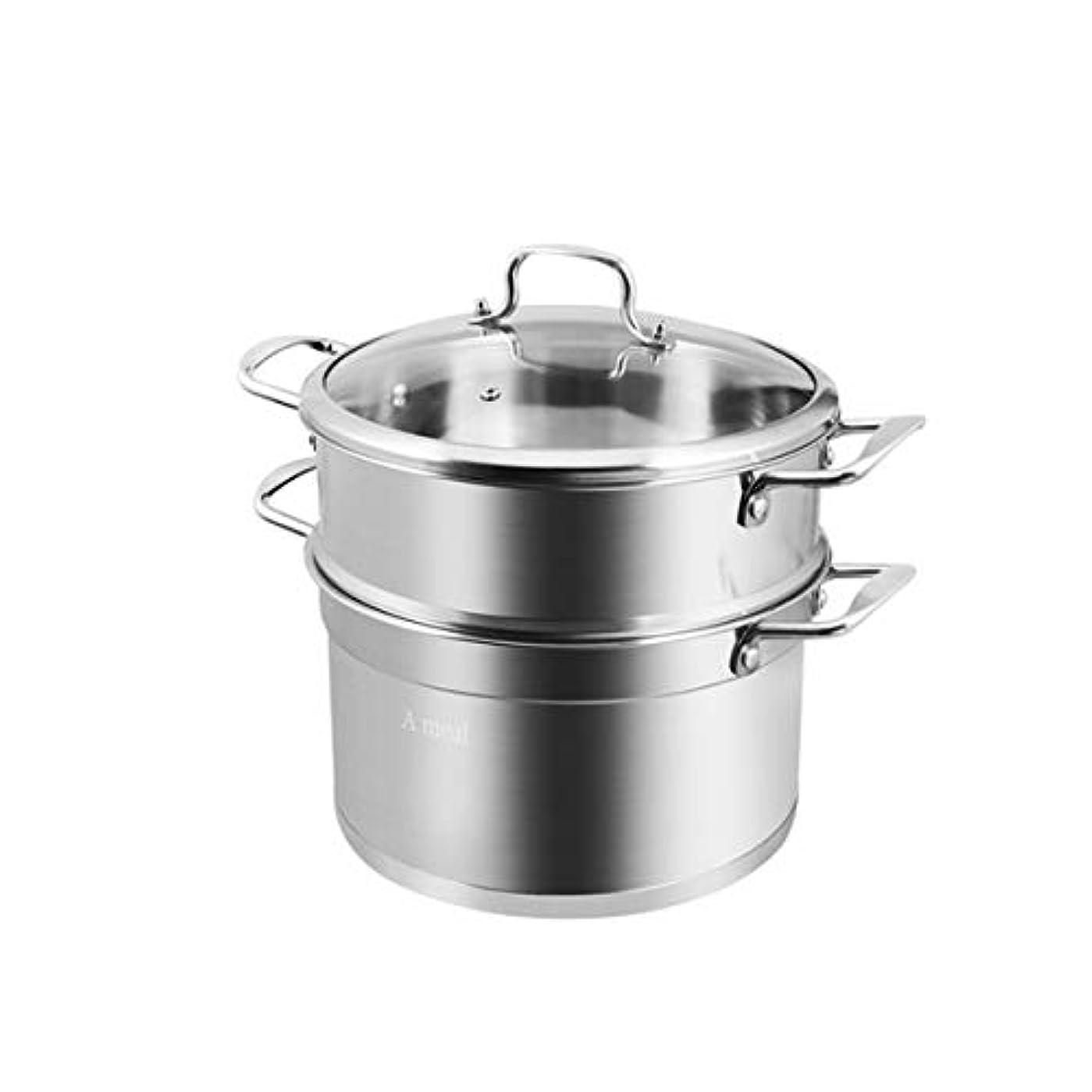 シュート言うまでもなく桁LIFANG 蒸し器、304ステンレス鋼、2層、増粘、蒸し器、家庭用、高品質、耐久性、シルバー (Color : Silver, Size : 28cm)