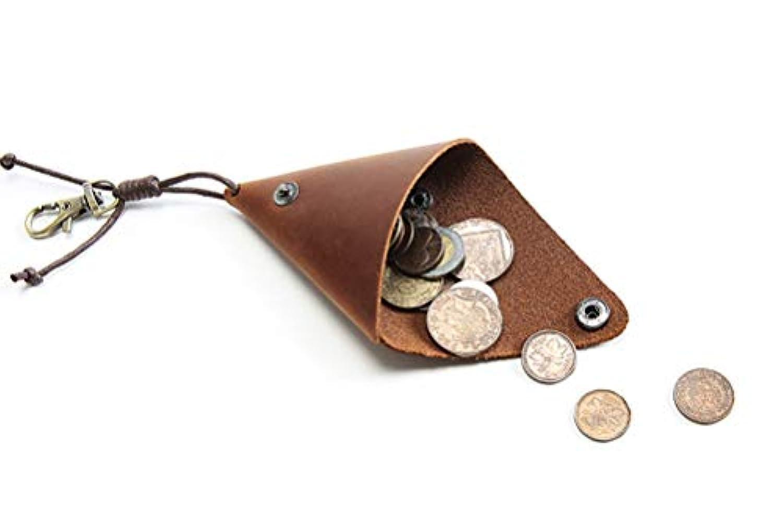 Meigardass 本革 小銭入れ コインケース メンズ ボタン式 レディース 三角 カナビラ付き イヤホンケース 男女通用