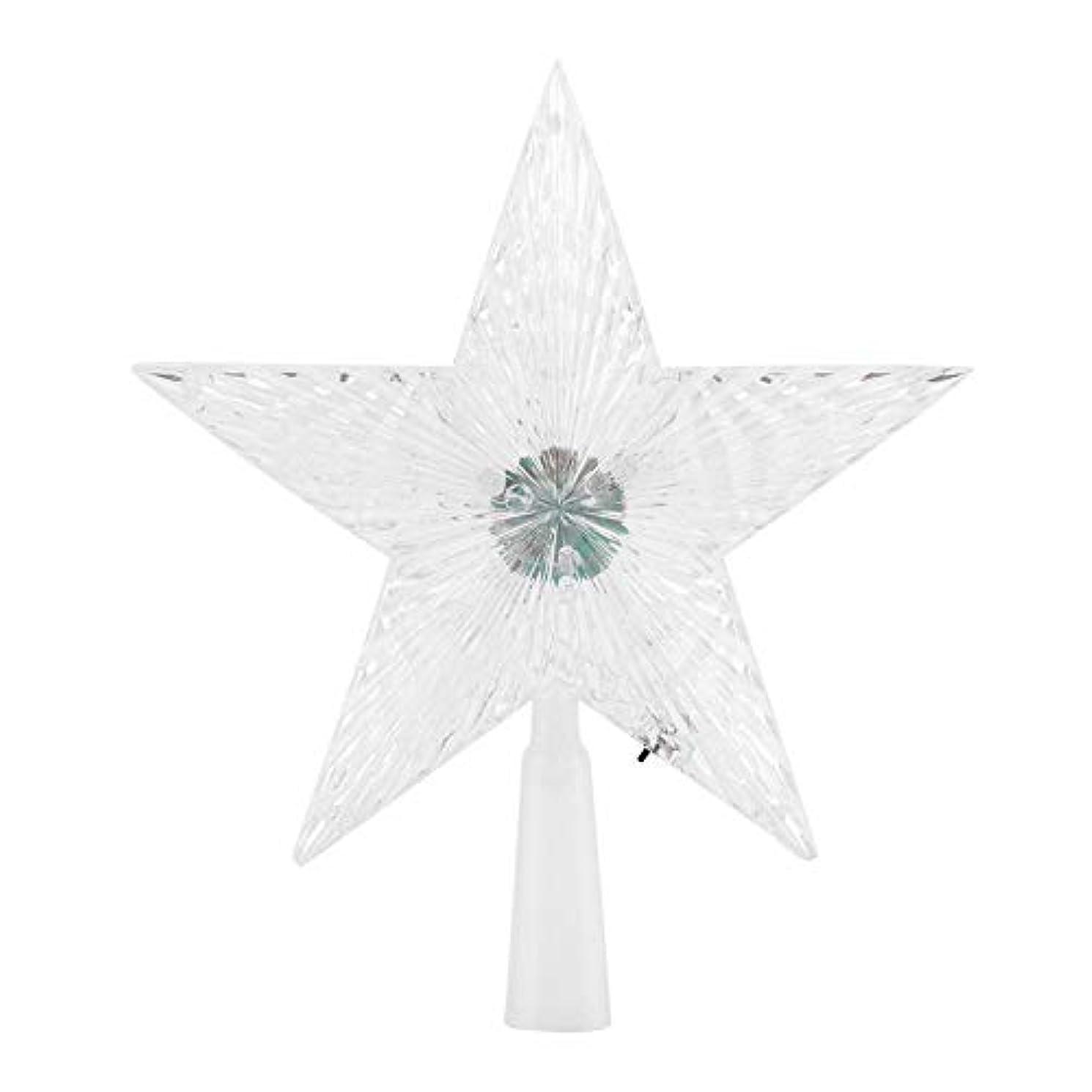 高尚なメッシュ感心するSemmeスターツリートッパー、クリスマスツリーの装飾輝き星飾り屋内屋外用の5つの尖った星LED変更ライトツリートップ(small)