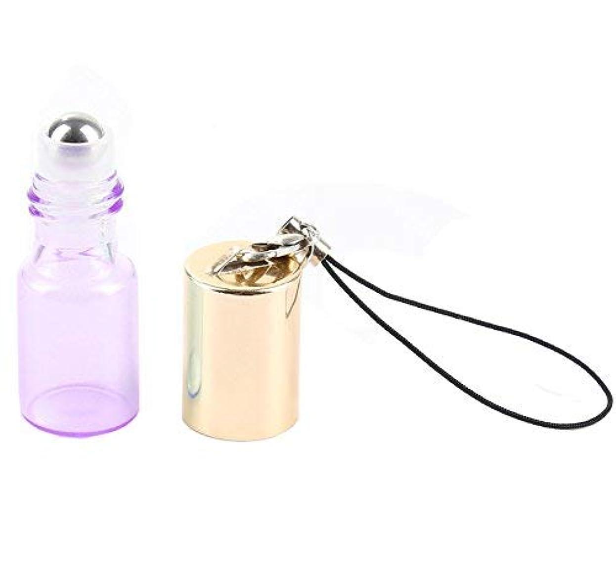 通り疼痛女将Empty Roller Bottles - Pack of 12 3ml Pearl Colored Glass Roll-on Bottles for Essential Oil Container with Golden Hanging Lids and 1Pc 3ml Droppers Included (Purple) [並行輸入品]