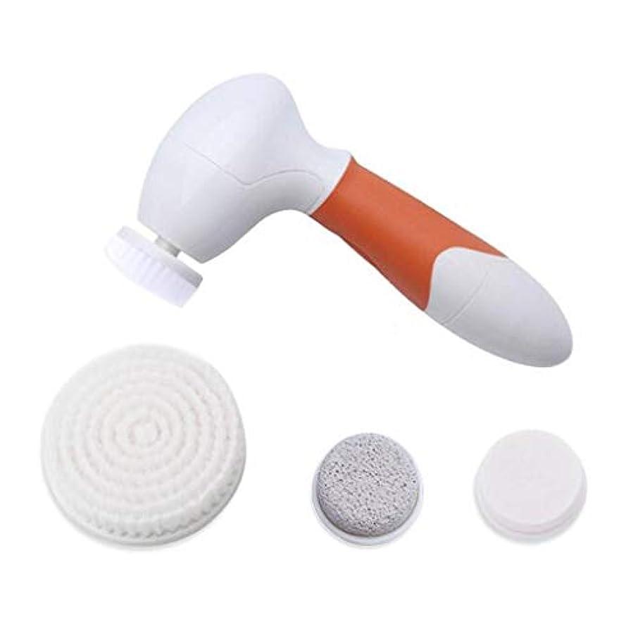 暗くする試験違法ディープクレンジングブラシ、スキンソニックフェイシャルマッサージャーポータブルディープクレンジングジェントルエクスフォリエイティングブラックヘッドの除去スキンポアクリーナー (Color : Orange)