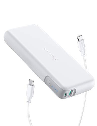 RAVPower モバイルバッテリー 20000mAh PD対応 60W USB-A+USB-C 2ポート 大容量iPhone/Android/MacBook/ノートパソコン/Switch等対応 PSE認証済 RP-PB201
