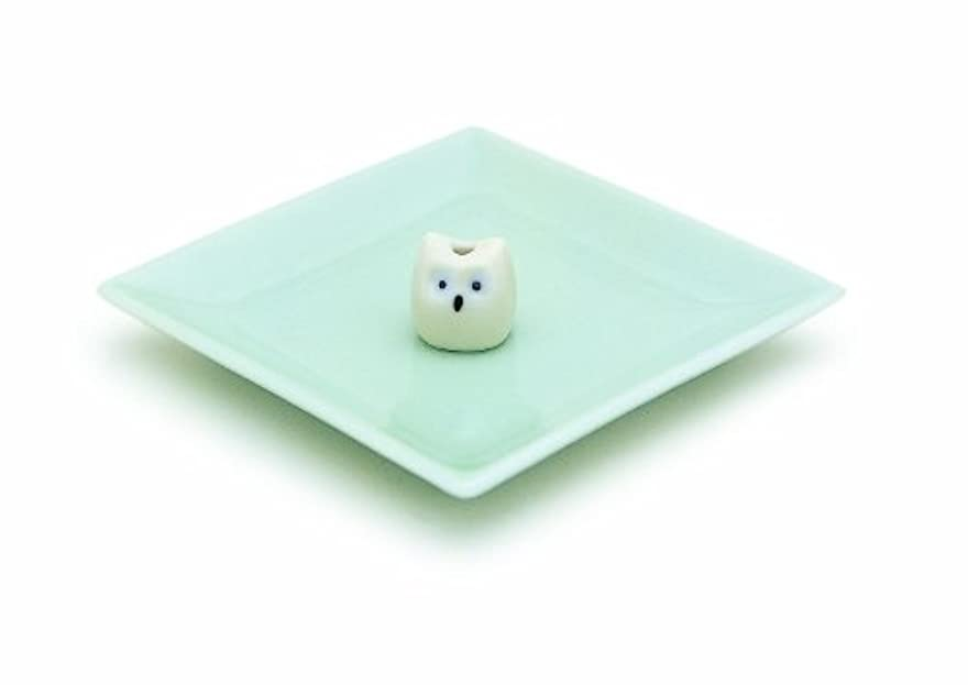 メニュー遮るミリメーター陶器香皿&ミミズク香立
