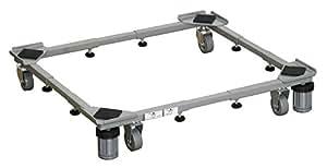 平安伸銅工業 ドラム式も置ける洗濯機台 グレー 耐荷重150kg(移動時100kg) 幅48~78cm 奥行き39~61cm DS-150