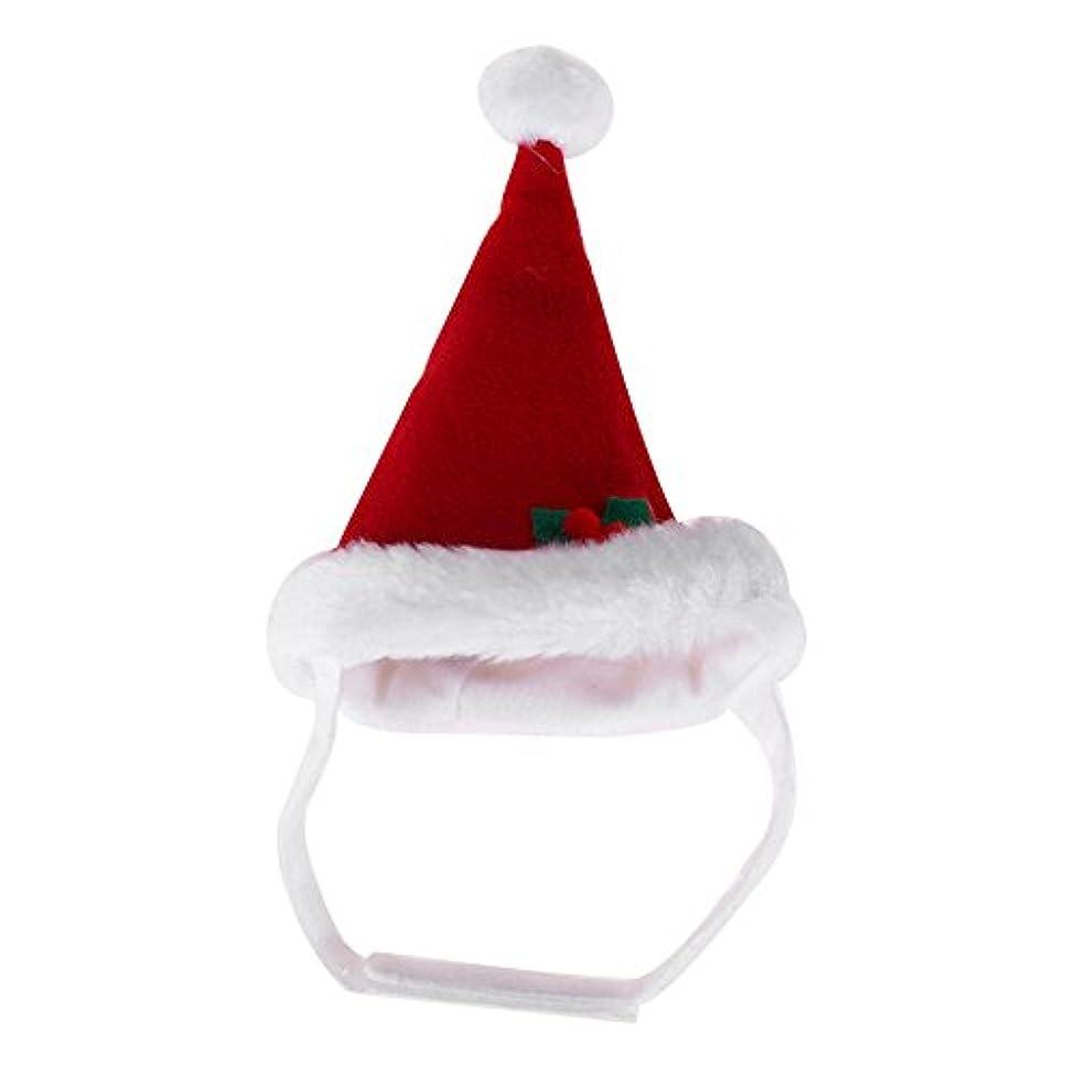 微視的転用ドットペット猫の犬のクリスマスサンタクロースコスチューム帽子ひげの暖かい冬の帽子