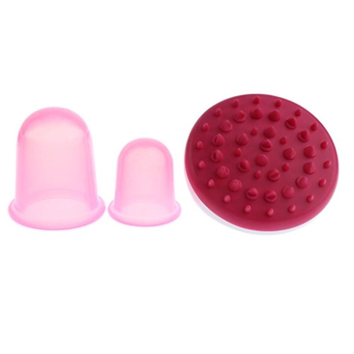 所有者シンプルさダッシュP Prettyia ボディマッサージ マッサージブラシ マッサージカップ シリコーン製 4色選べ - ピンク