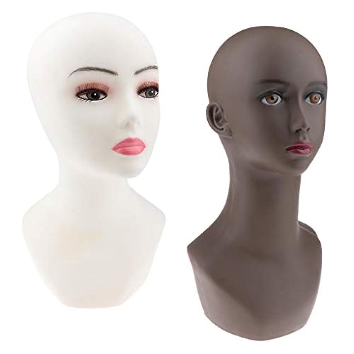 CUTICATE マネキンヘッド かつら メガネ 帽子 ヘッドセット ディスプレイ スタンド モデルラック 2ピース