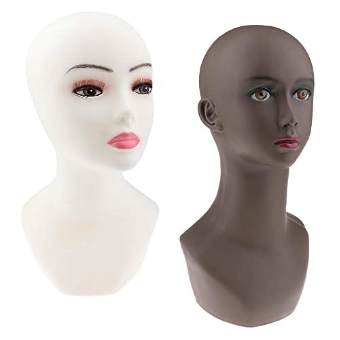 現実セグメントバットCUTICATE マネキンヘッド かつら メガネ 帽子 ヘッドセット ディスプレイ スタンド モデルラック 2ピース