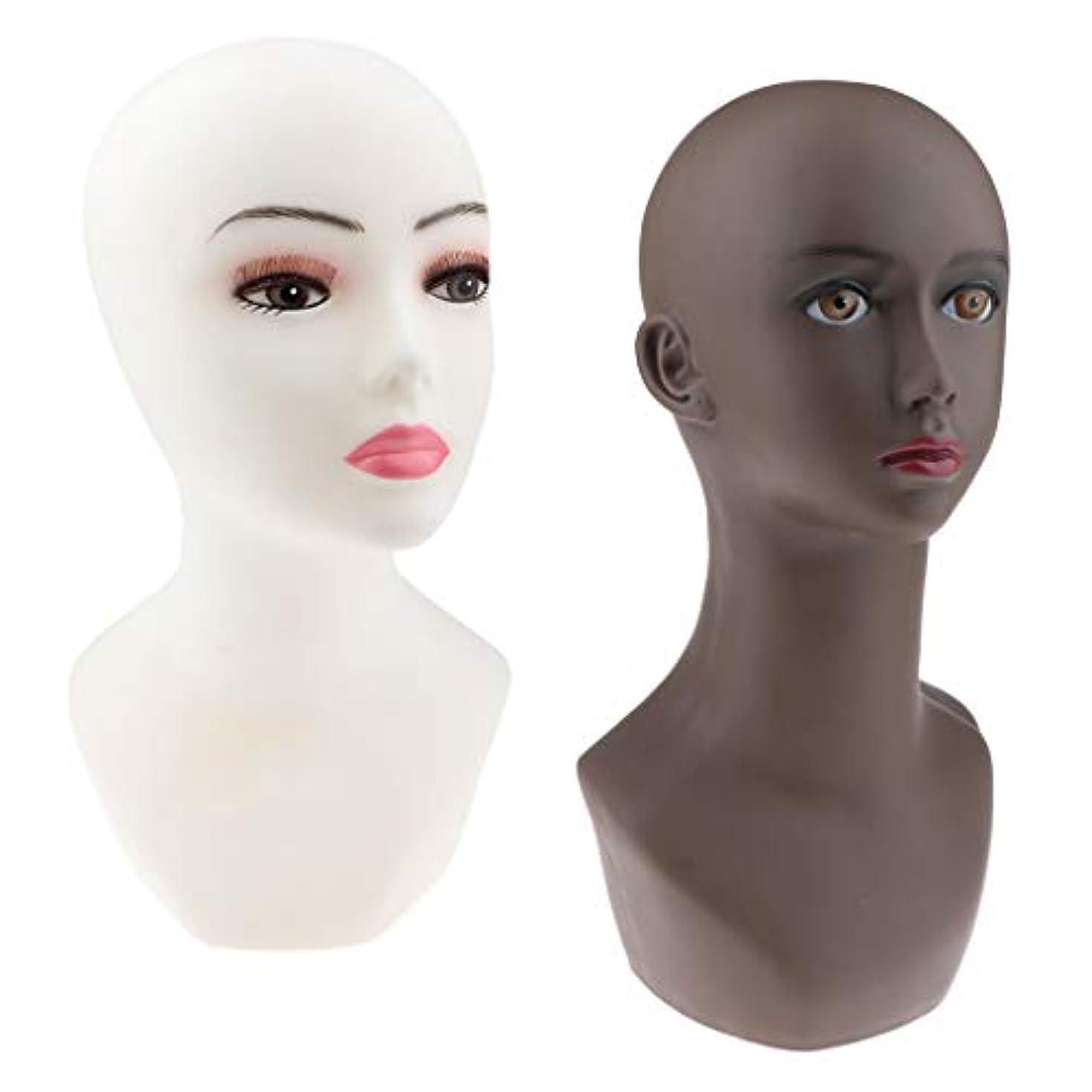 プレミアム同意する表示CUTICATE マネキンヘッド かつら メガネ 帽子 ヘッドセット ディスプレイ スタンド モデルラック 2ピース