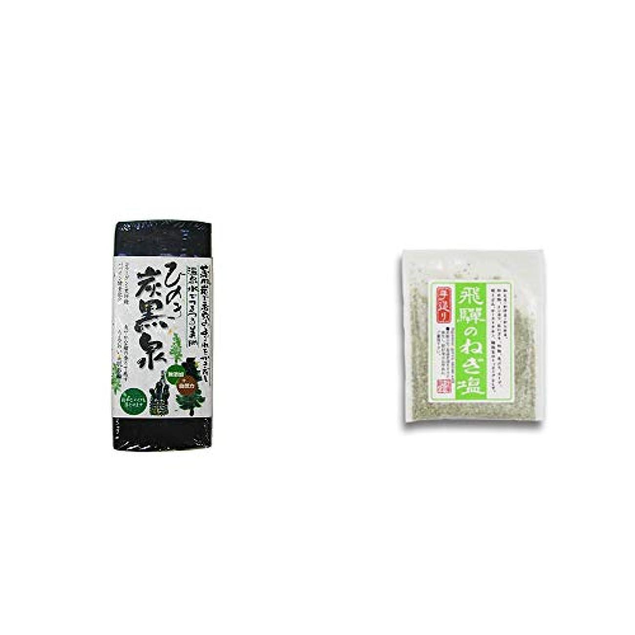 神社支配する合併症[2点セット] ひのき炭黒泉(75g×2)?手造り 飛騨のねぎ塩(40g)