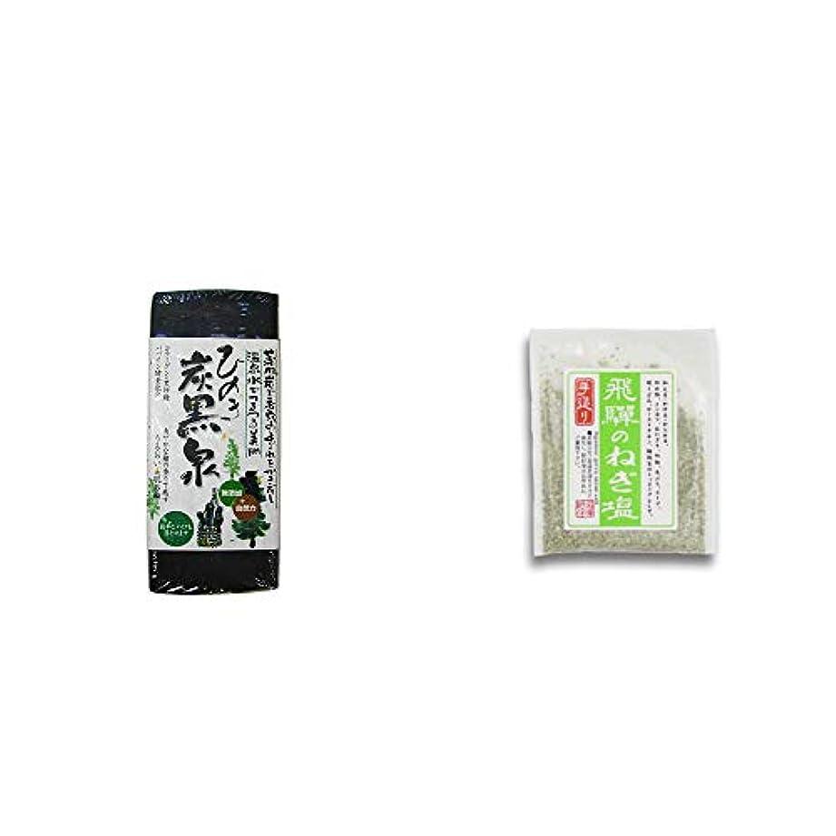 リッチ繊毛びっくり[2点セット] ひのき炭黒泉(75g×2)?手造り 飛騨のねぎ塩(40g)