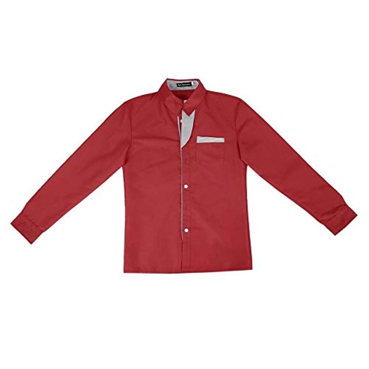 八デクリメント略すシャツメンズストライプシャツコットンスリムフィットロングスリーブシャツメンズニューモデルシャツストライプデコレーションデザインロングスリーブシャツ-レッドM